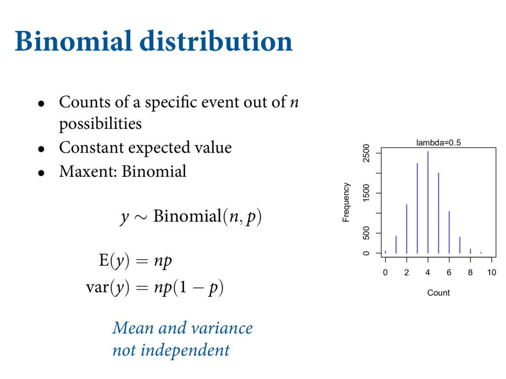 Binomial distribution Z ∼ #JOPNJBM(O, Q) &(Z) =...