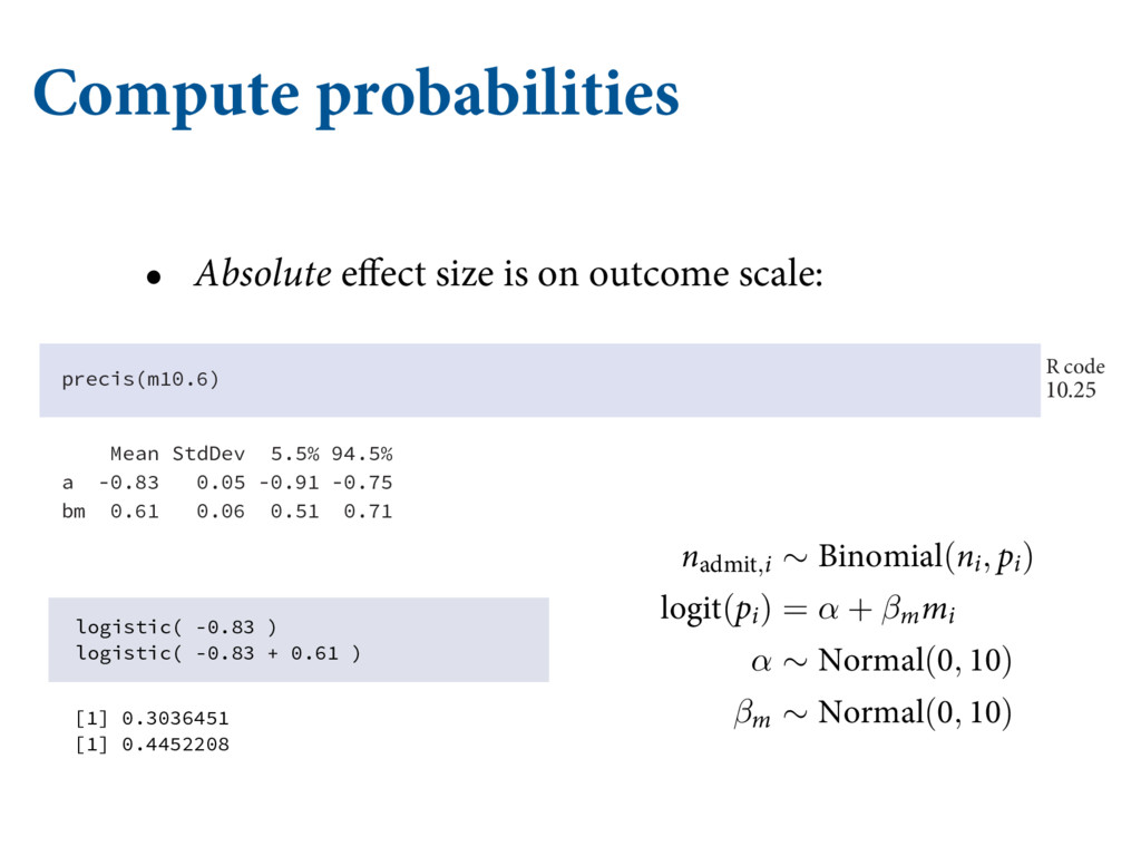 Compute probabilities • Absolute effect size is...