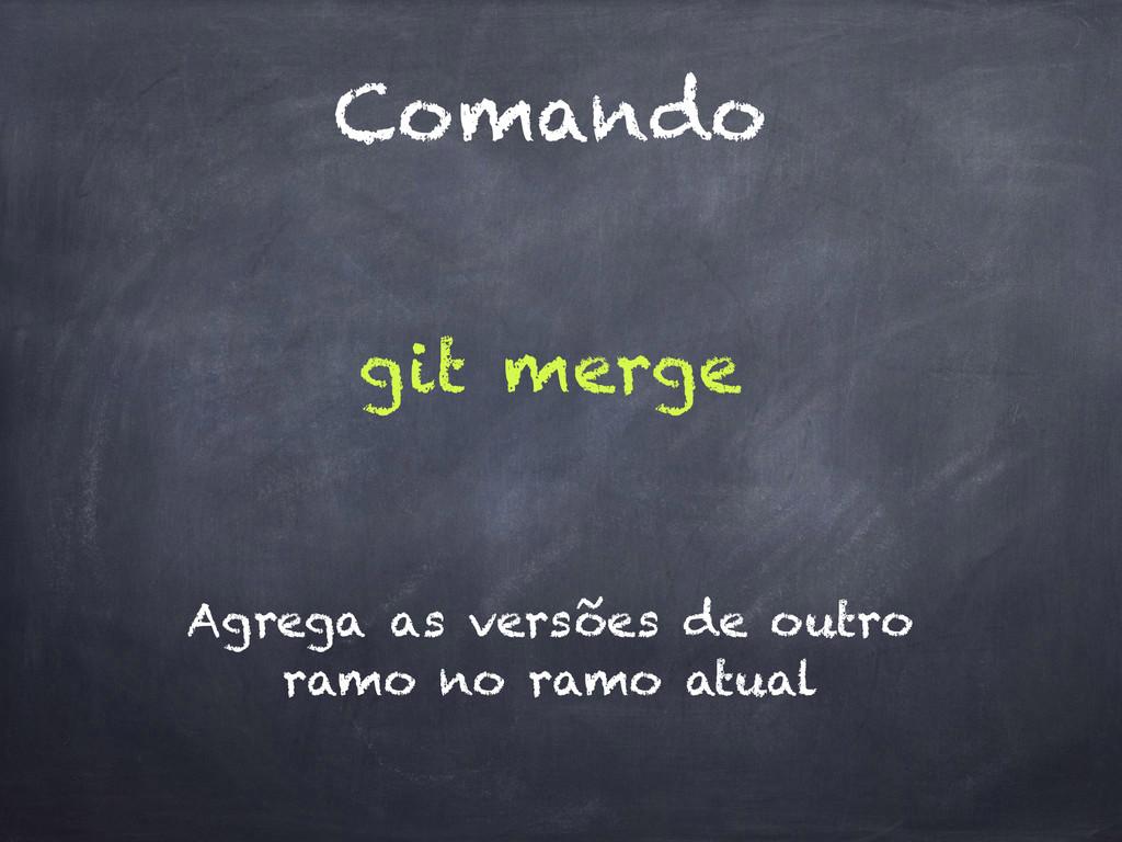 Comando git merge Agrega as versões de outro ra...