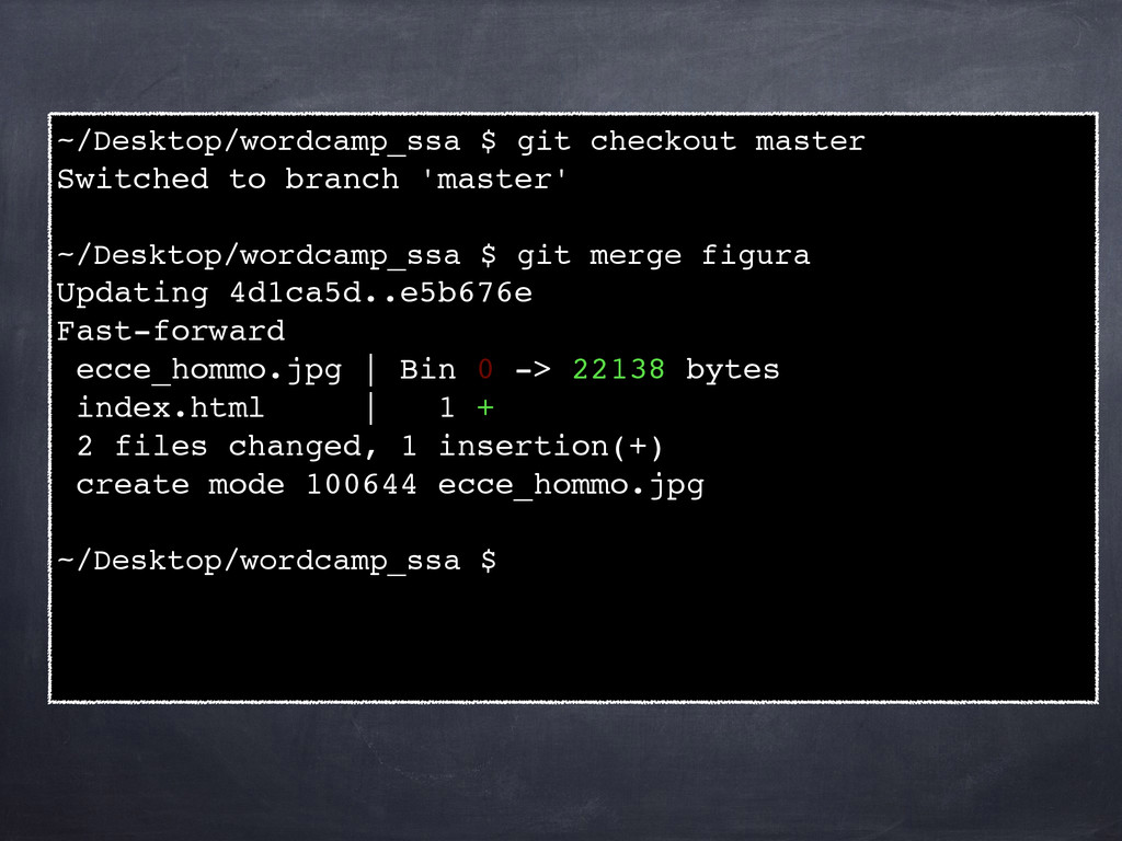 ~/Desktop/wordcamp_ssa $ git checkout master! S...