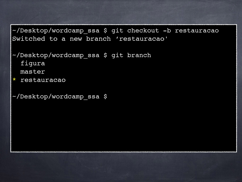 ~/Desktop/wordcamp_ssa $ git checkout -b restau...