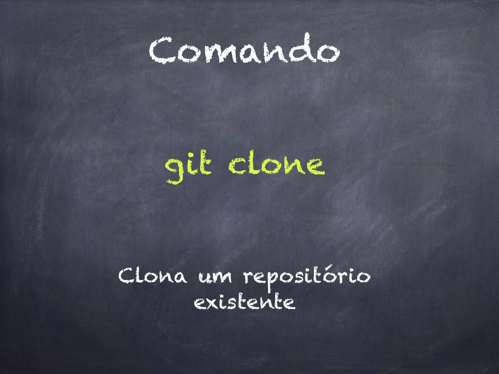 Comando git clone Clona um repositório existente