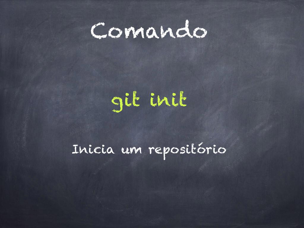 Comando git init Inicia um repositório