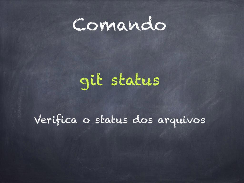 Comando git status Verifica o status dos arquiv...