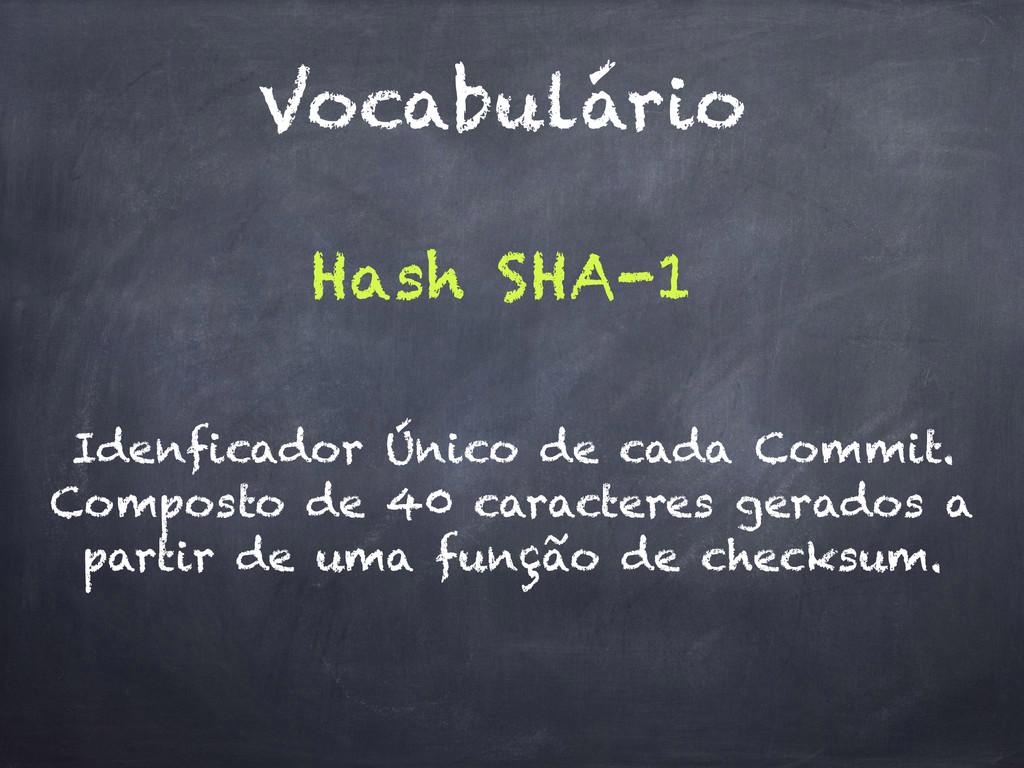 Vocabulário Hash SHA-1 Idenficador Único de cad...