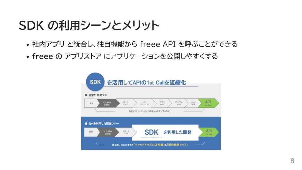 SDK の利用シーンとメリット 社内アプリ と統合し、独自機能から freee API を呼ぶ...