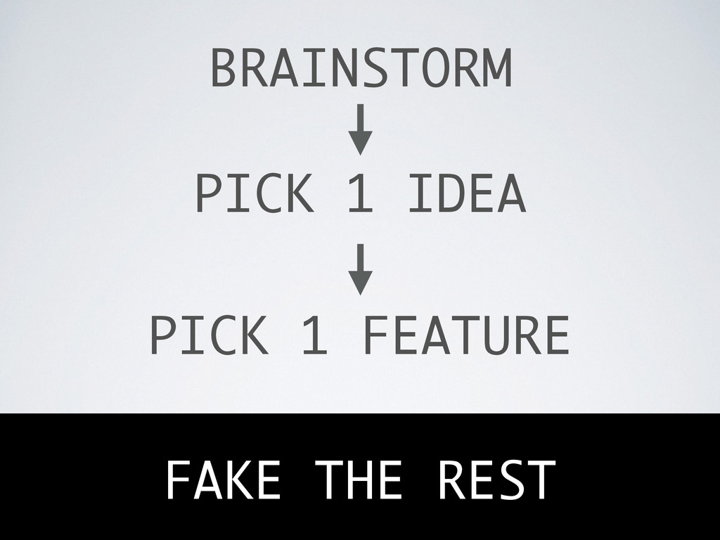 BRAINSTORM PICK 1 IDEA PICK 1 FEATURE FAKE THE ...