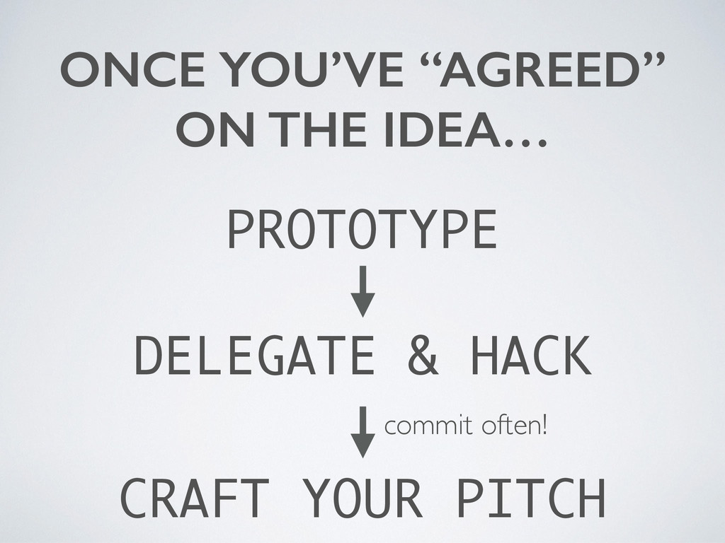 "ONCE YOU'VE ""AGREED"" ON THE IDEA… PROTOTYPE DEL..."