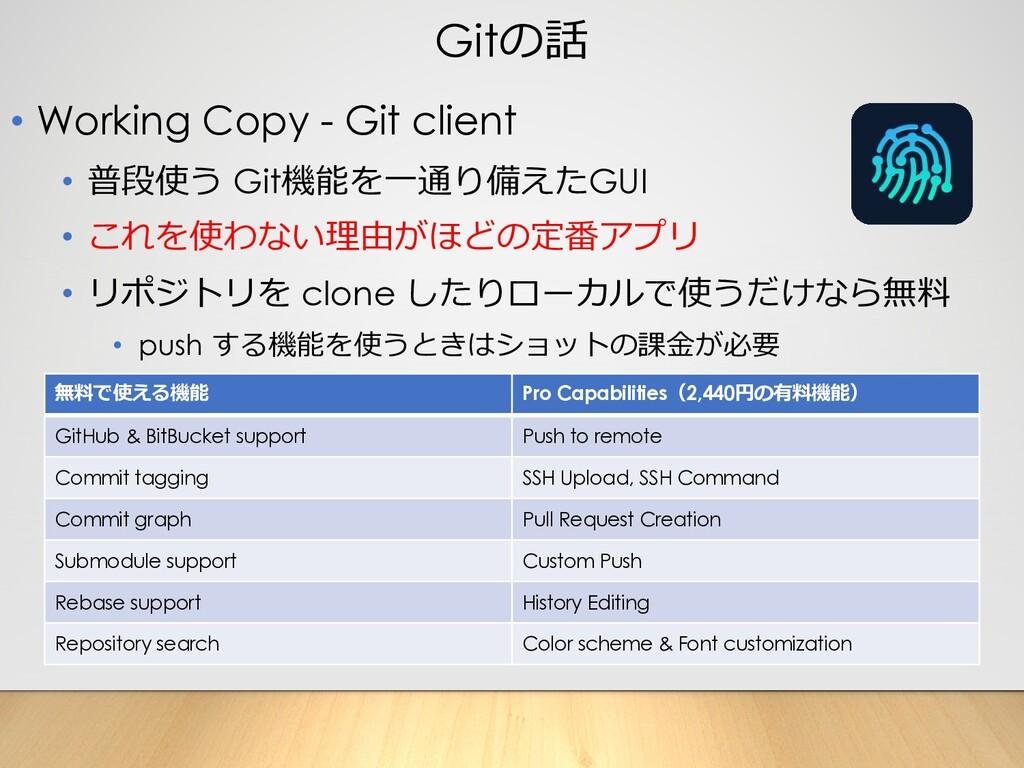 Gitの話 • Working Copy - Git client • 普段使う Git機能を...