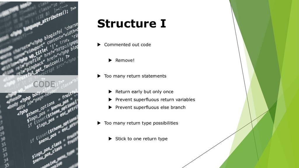 CODE Structure I  Commented out code  Remove!...