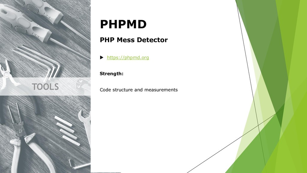 TOOLS PHPMD PHP Mess Detector  https://phpmd.o...