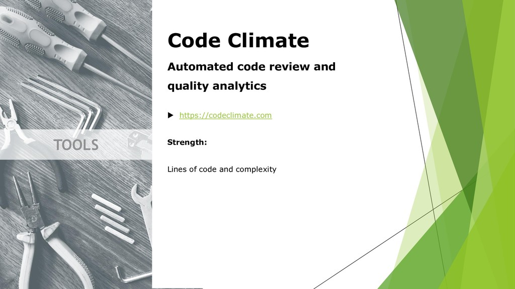 TOOLS Code Climate Automated code review and qu...