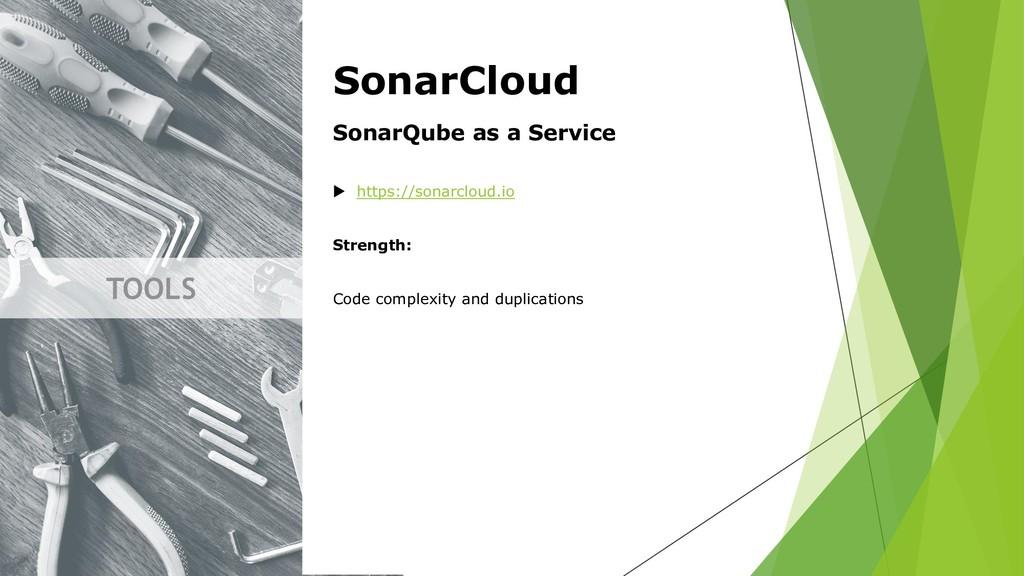TOOLS SonarCloud SonarQube as a Service  https...