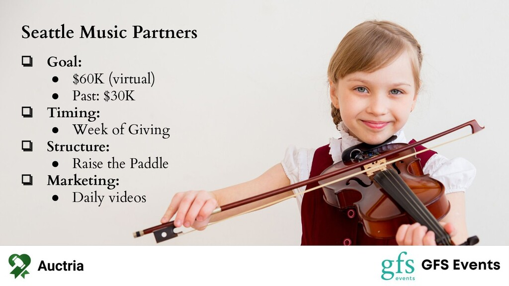 Seattle Music Partners ❏ Goal: ● $60K (virtual)...