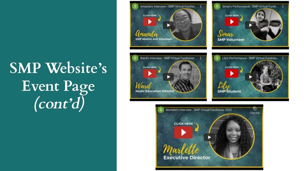 SMP Website's Event Page (cont'd)