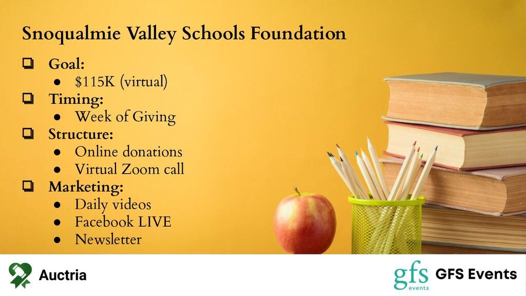 Snoqualmie Valley Schools Foundation ❏ Goal: ● ...