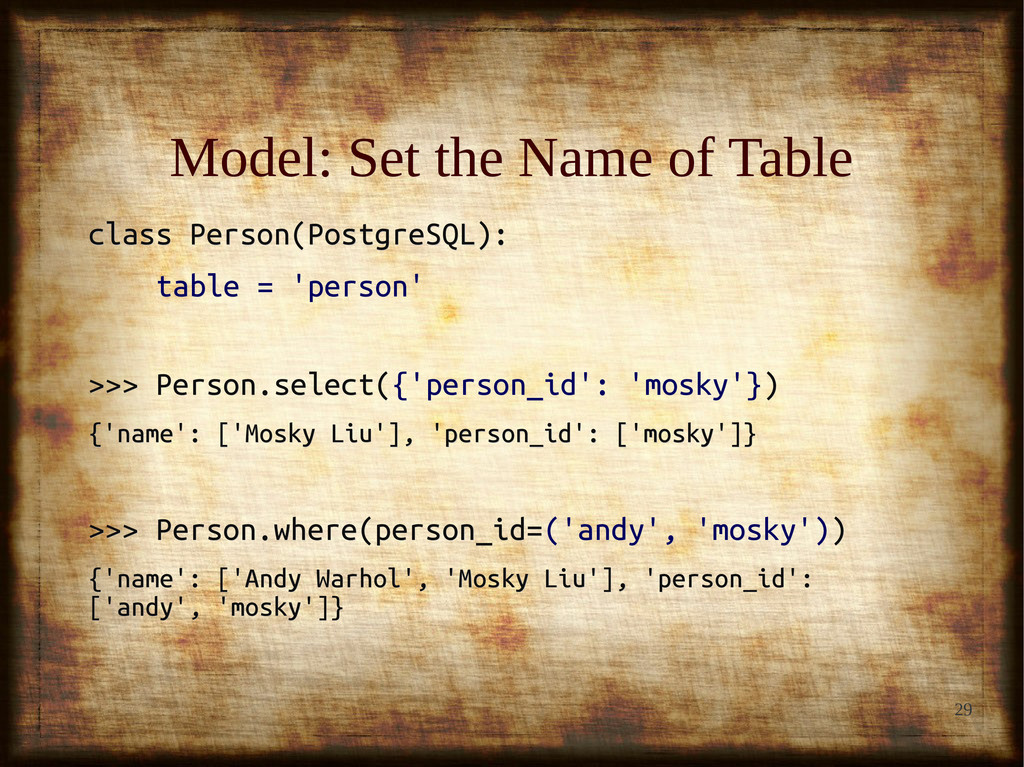 29 Model: Set the Name of Table Model: Set the ...