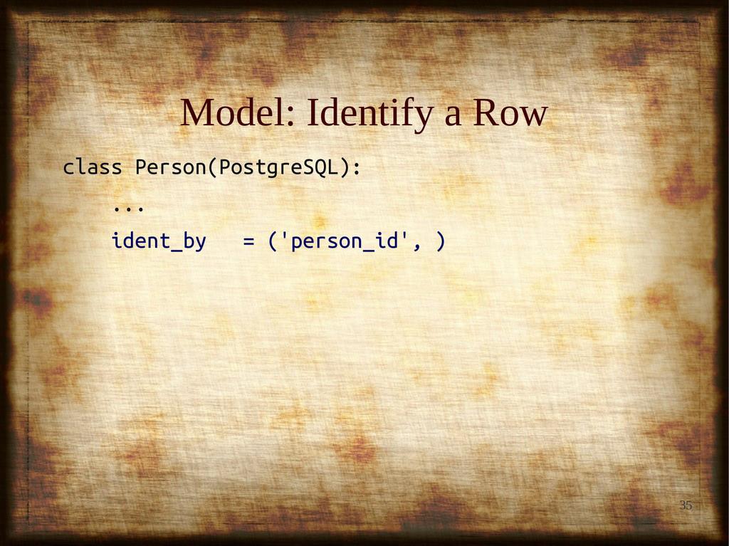 35 Model: Identify a Row Model: Identify a Row ...