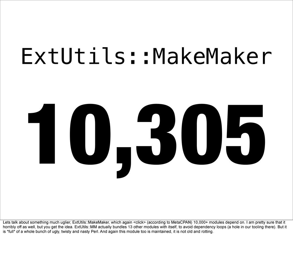 10,305 ExtUtils::MakeMaker Lets talk about some...