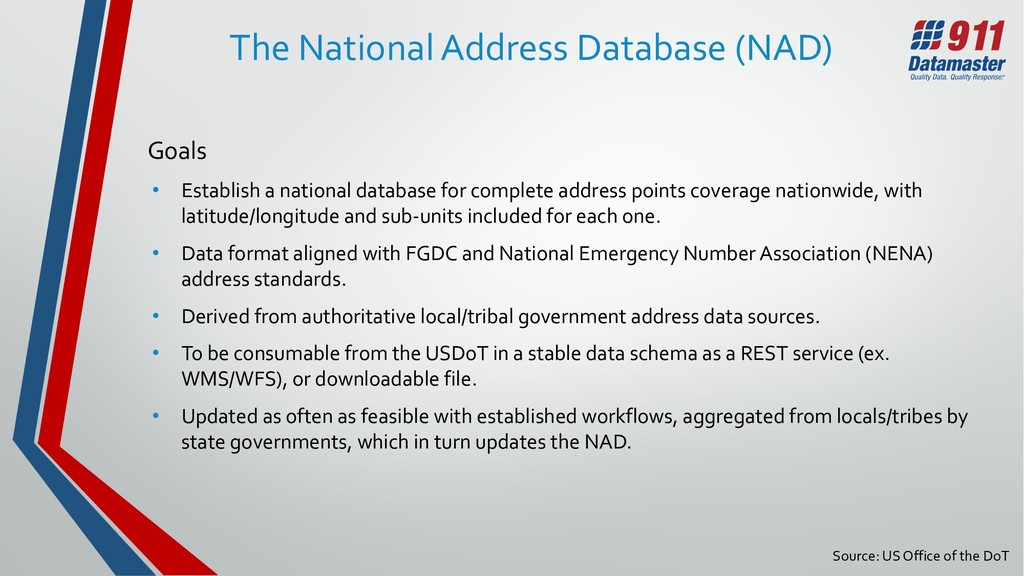 Source: US Office of the DoT The National Addre...