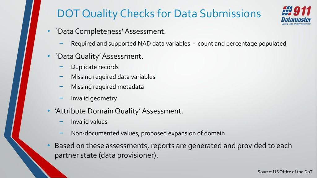 DOT Quality Checks for Data Submissions • 'Data...
