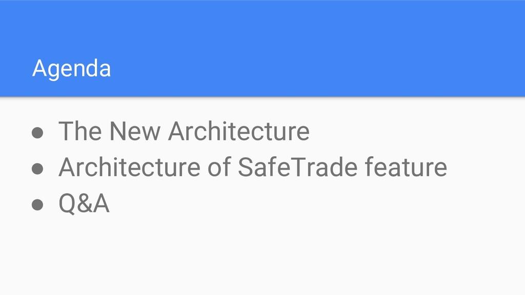 Agenda ● The New Architecture ● Architecture of...