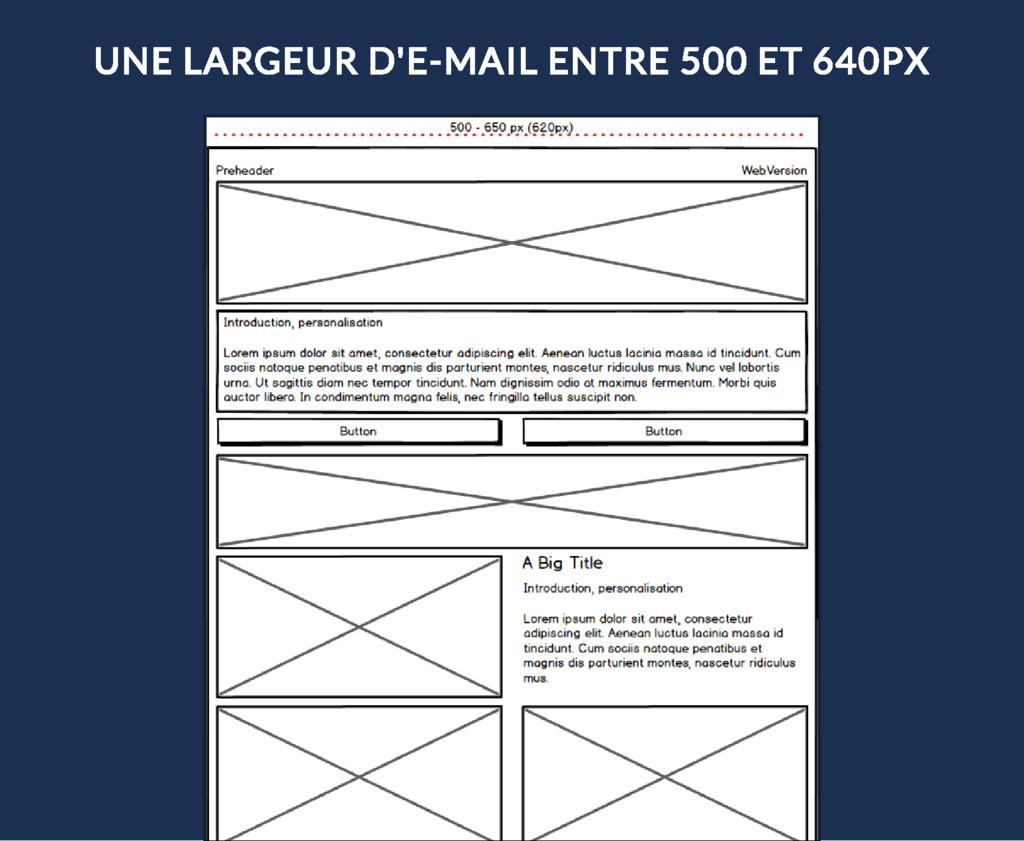 UNE LARGEUR D'E-MAIL ENTRE 500 ET 640PX