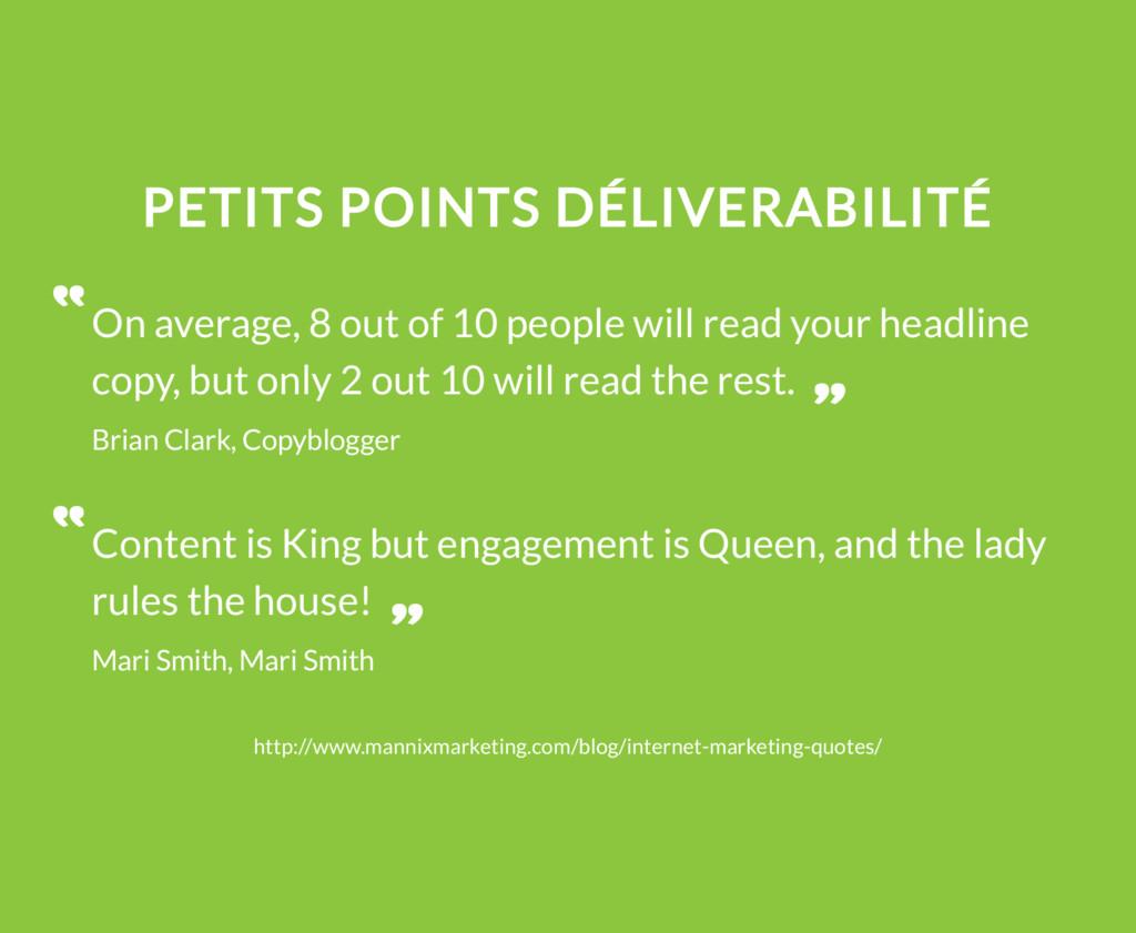 PETITS POINTS DÉLIVERABILITÉ On average, 8 out ...