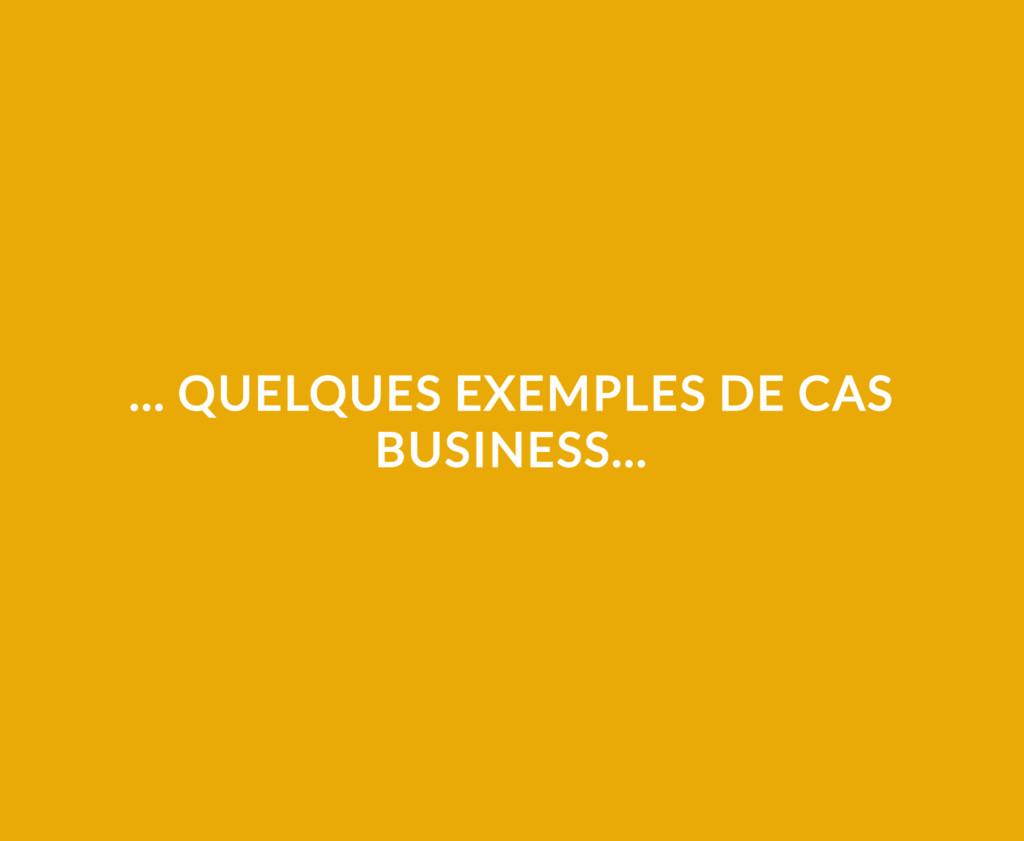 ... QUELQUES EXEMPLES DE CAS BUSINESS...