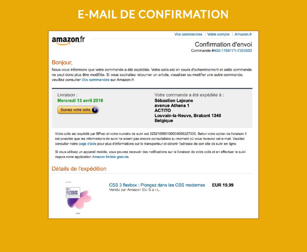 E-MAIL DE CONFIRMATION