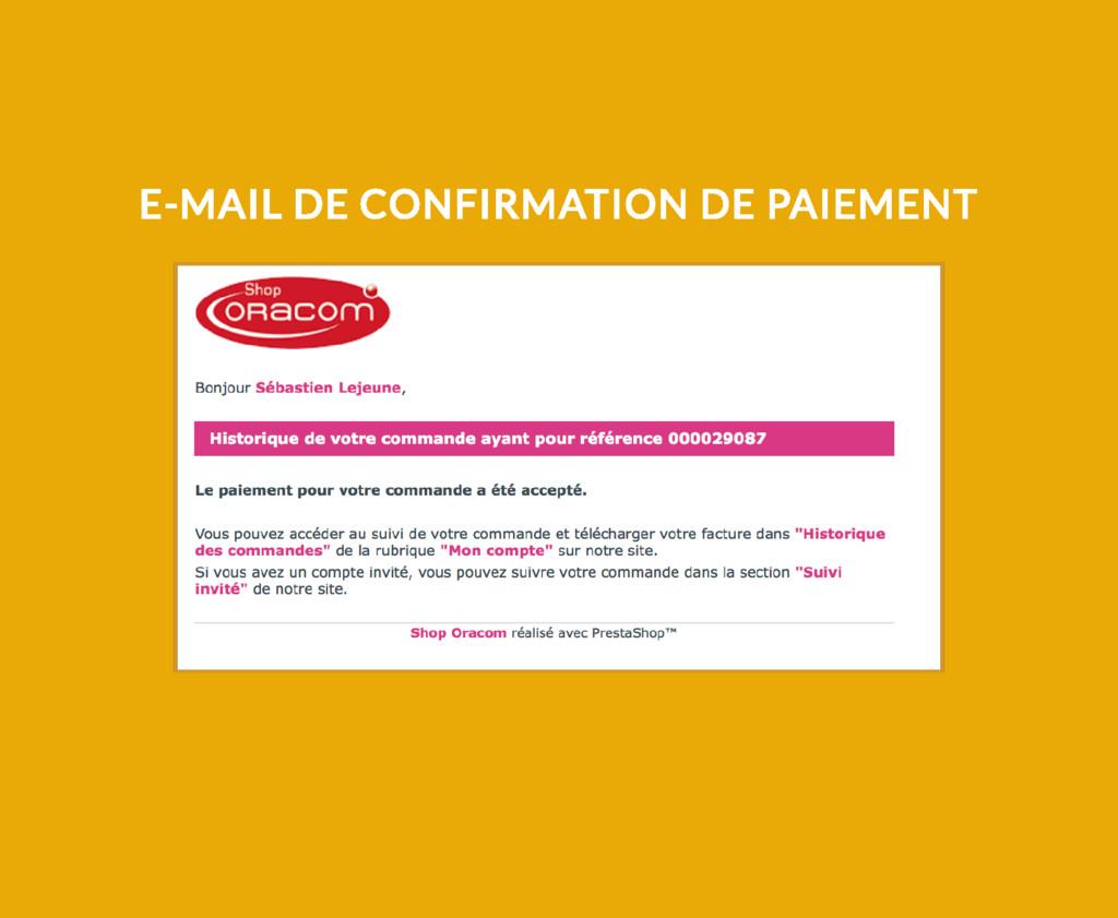 E-MAIL DE CONFIRMATION DE PAIEMENT