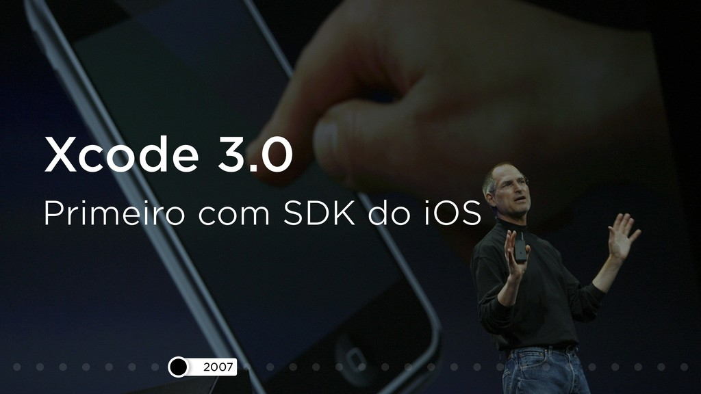 2007 Xcode 3.0 Primeiro com SDK do iOS