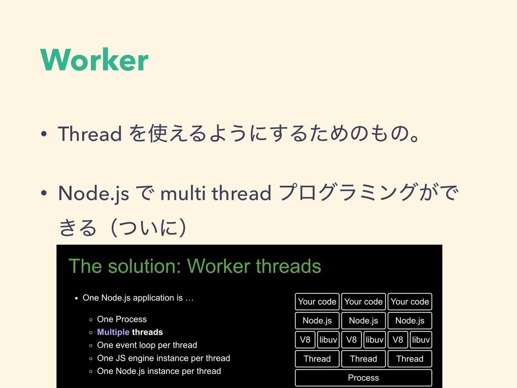 Worker • Thread Λ͑ΔΑ͏ʹ͢ΔͨΊͷͷɻ • Node.js Ͱ mul...