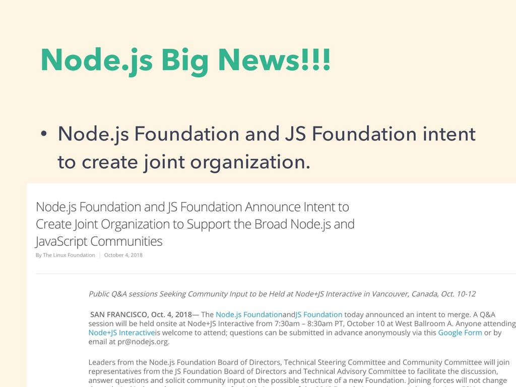 Node.js Big News!!! • Node.js Foundation and JS...