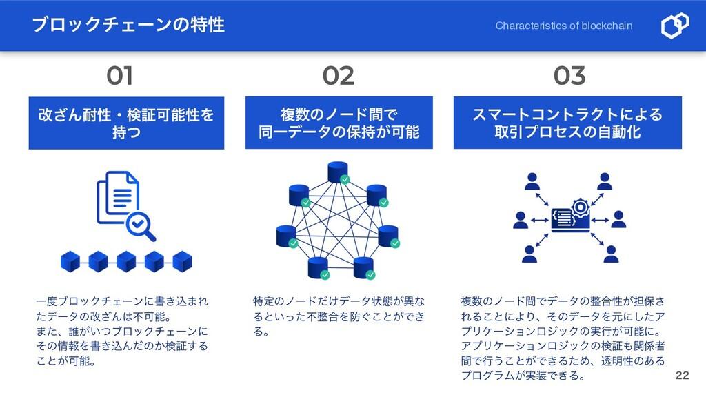 ϒϩοΫνΣʔϯͷಛੑ  Characteristics of blockchain վ͟...