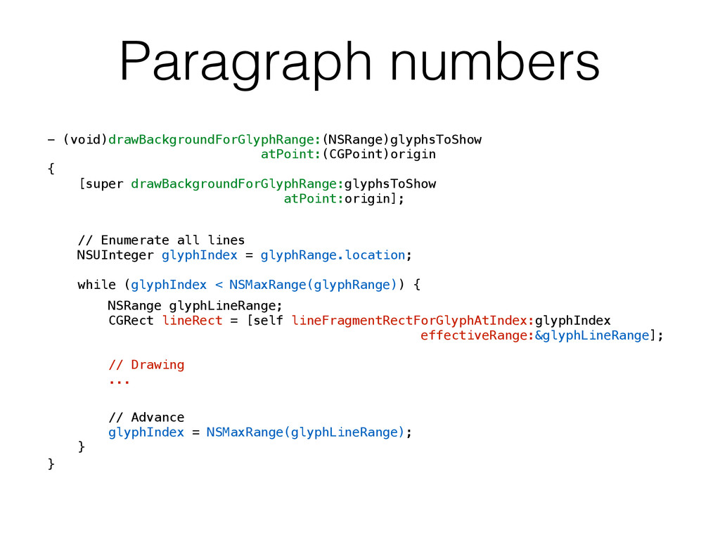 Paragraph numbers - (void)drawBackgroundForGlyp...