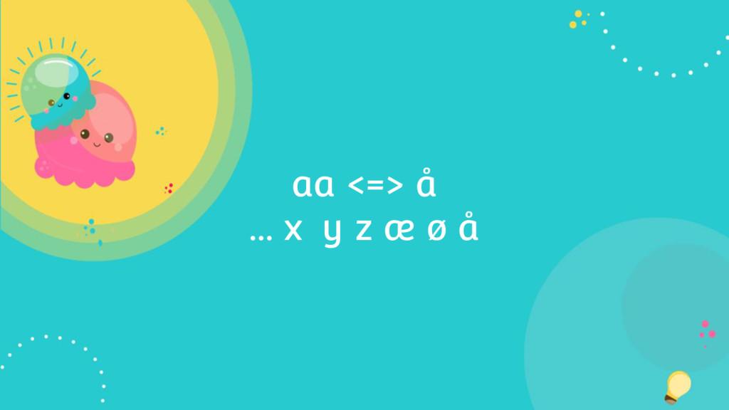 aa <=> å … x y z æ ø å