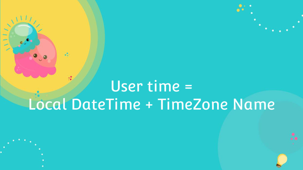 User time = Local DateTime + TimeZone Name