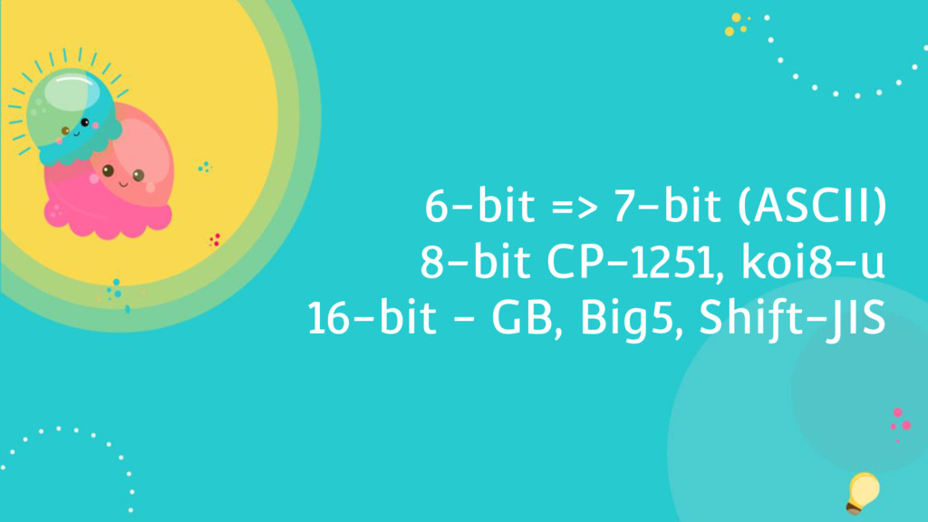 6-bit => 7-bit (ASCII) 8-bit CP-1251, koi8-u 16...