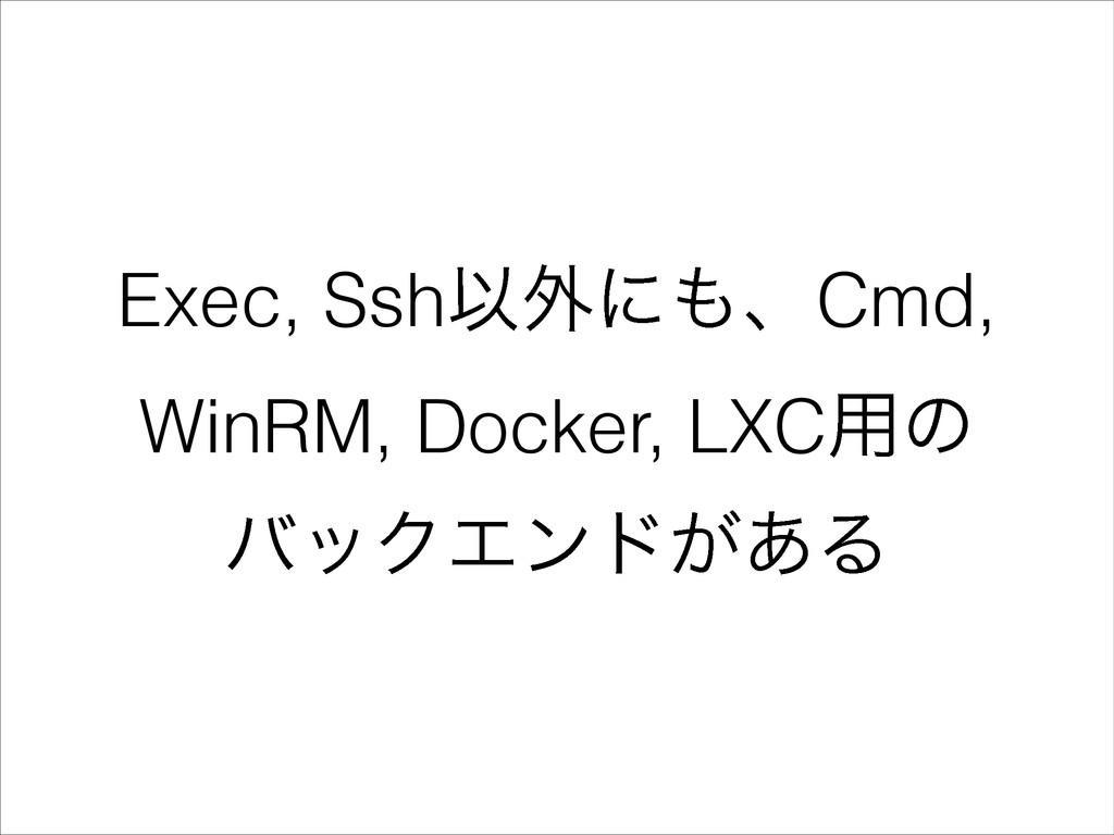 Exec, SshҎ֎ʹɺCmd, WinRM, Docker, LXC༻ͷ όοΫΤϯυ͕...