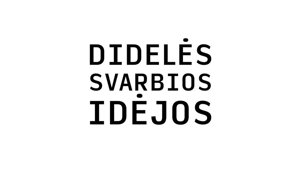 DIDELĖS SVARBIOS IDĖJOS
