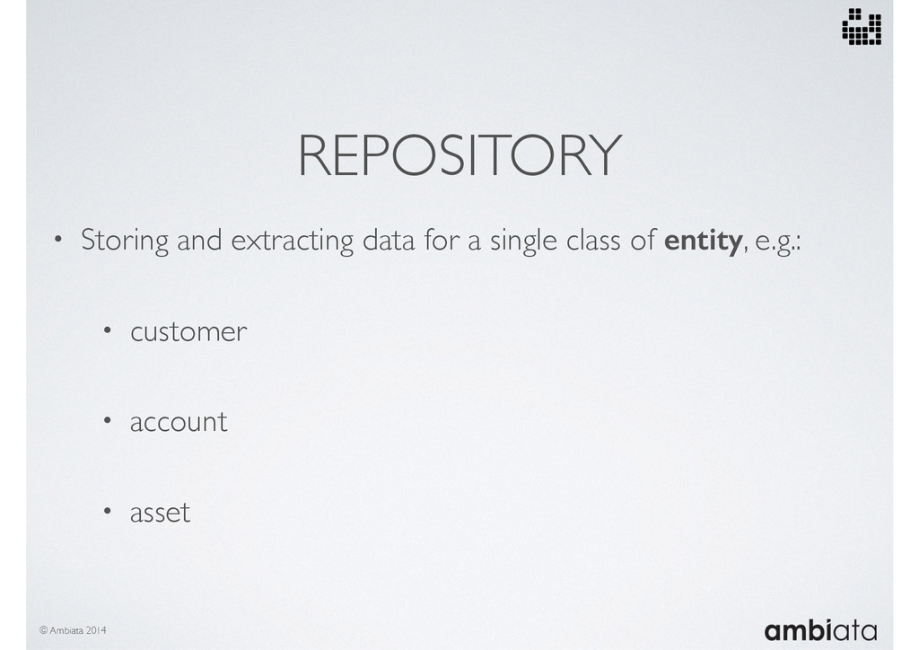 REPOSITORY • Storing and extracting data for a ...