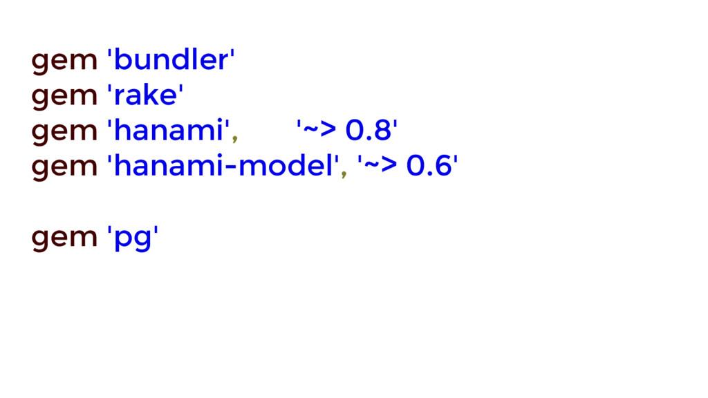 gem 'bundler' gem 'rake' gem 'hanami', '~> 0.8'...