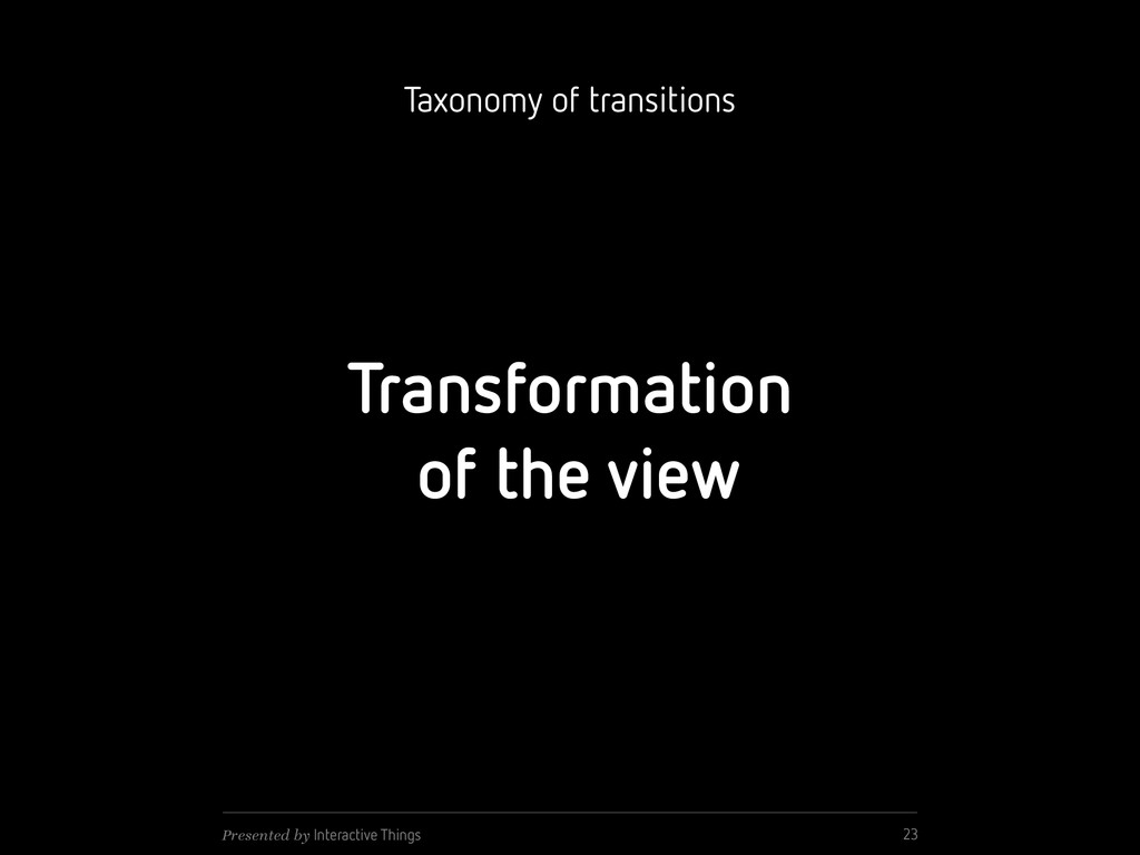 Transformation of the view 23 Presented by Inte...