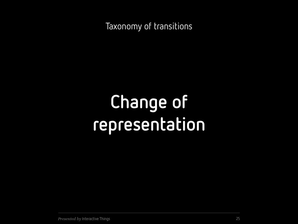 Change of representation 25 Presented by Intera...