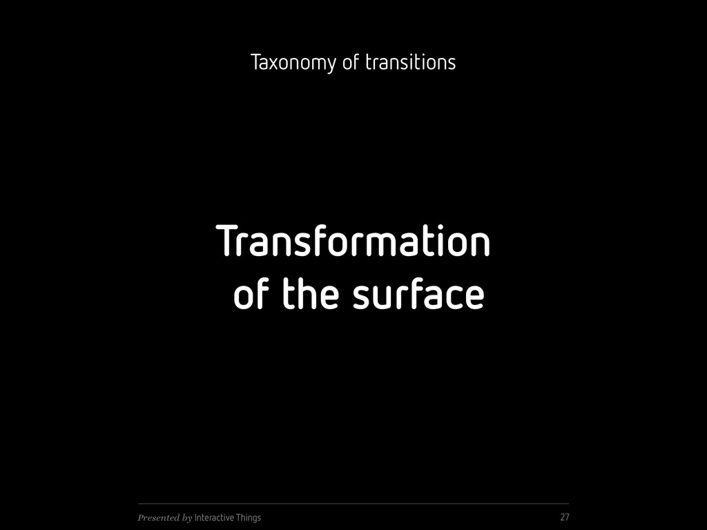 Transformation of the surface 27 Presented by I...