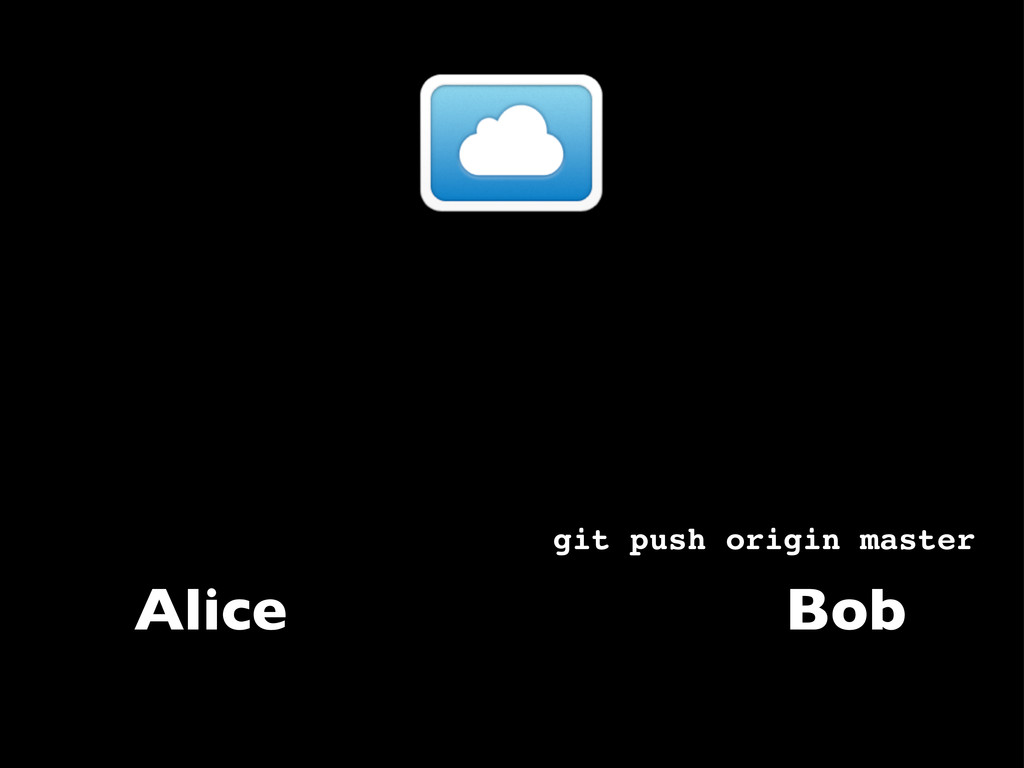 Alice git push origin master Bob
