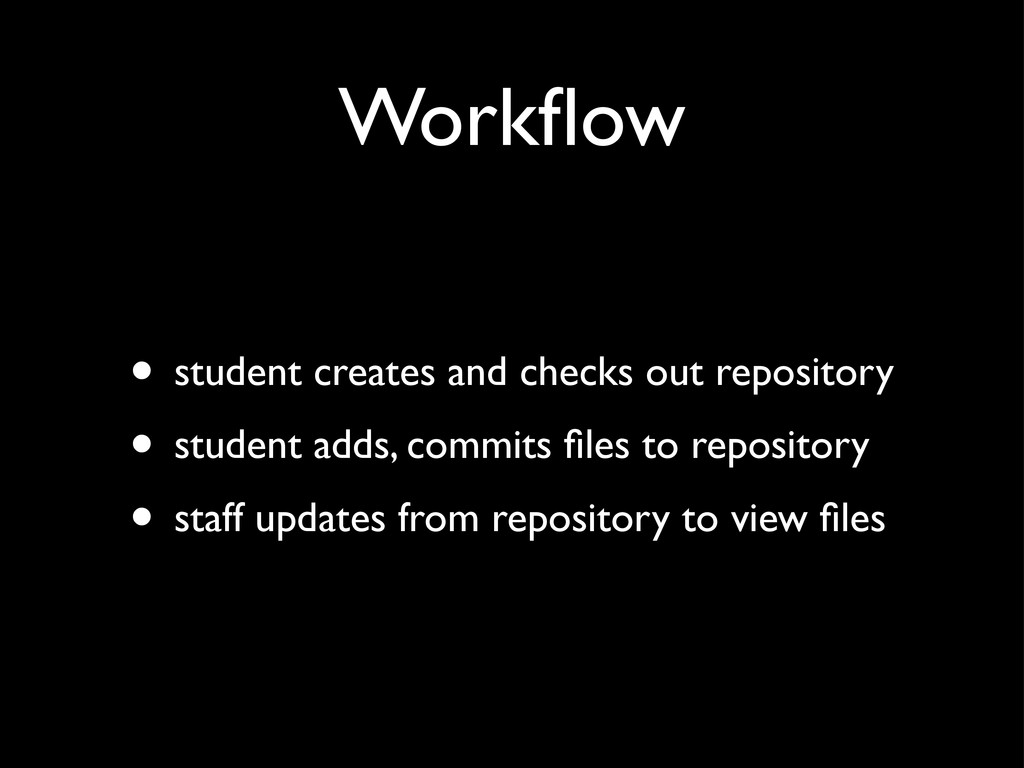 Workflow • student creates and checks out reposi...