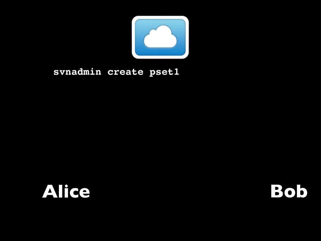 Alice svnadmin create pset1 Bob