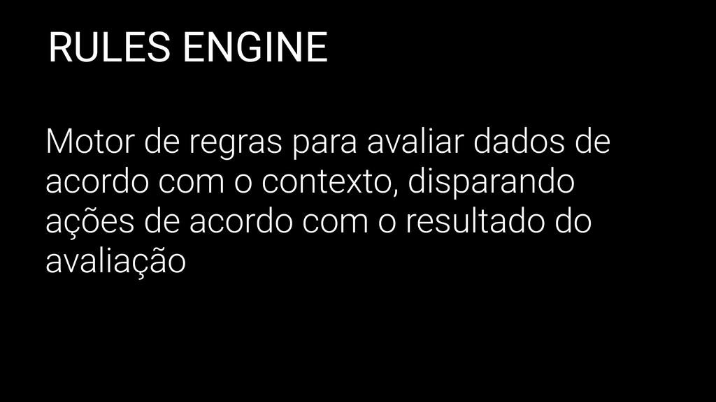 RULES ENGINE Motor de regras para avaliar dados...
